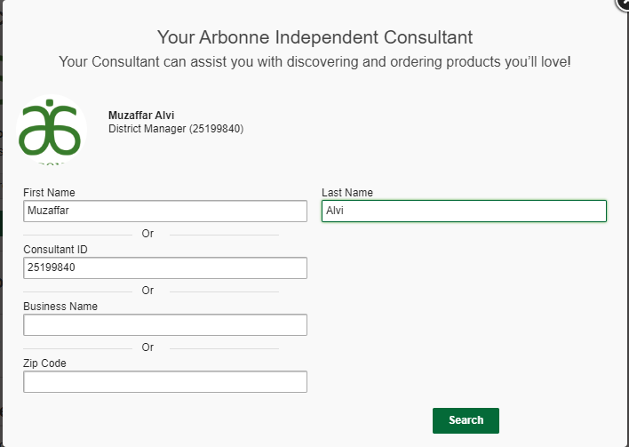 Arbonne Independent Consultant Sign Up - Your Consultant Search - Step 11